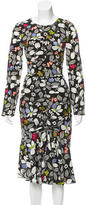 Suno Embroidered Floral Print Dress