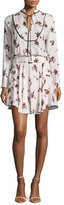 A.L.C. Campbell Long-Sleeve Floral Silk Dress, Light Pink/Multicolor