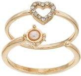 Juicy Couture Heart & Open Simulated Pearl Ring Set