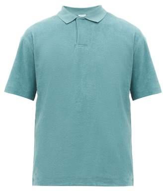 Sunspel Riviera Cotton-terry Polo Shirt - Mens - Blue