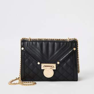 River Island Black quilted mini cross body bag
