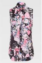 Select Fashion Fashion Womens Black Floral Sateen Sless Shirt - size 6