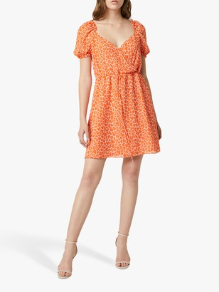 French Connection Etta Kiss Print Mini Dress, Neon Orange