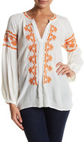 Ark & Co Embroidered Balloon Sleeve Blouse