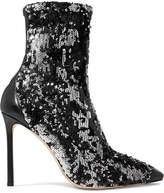 Jimmy Choo Ricky 100 Leather-trimmed Sequined Stretch-knit Sock Boots - Gunmetal