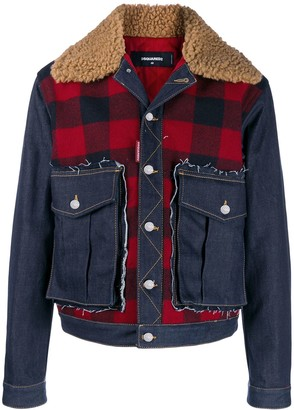 DSQUARED2 Check Print Denim Jacket
