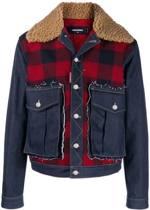 DSQUARED2 check print denim jacket