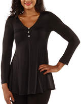 24/7 Comfort Apparel Three Button Henley Tunic Top