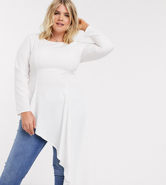 Verona Curve long sleeved top with asymmetric hem