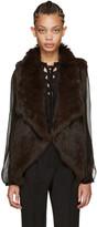Yves Salomon Brown Knit Fur Vest