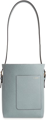 Valextra Secchiello Small Leather Hobo Bag