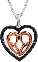 Jessica Simpson Sterling Silver 10K Rose Gold Heart Pendant(.33 cttw, Color IJ, Clarity I2-I3)