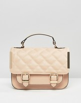 Asos Satchel Bag With Quilted Flap And Metal Side Tab
