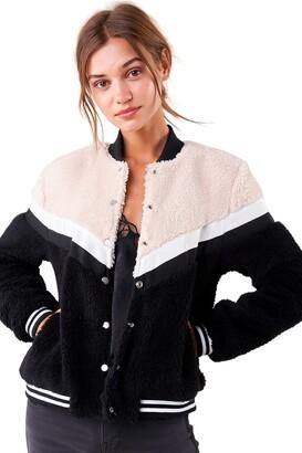 Sugar Lips SUGARLIPS Women's Color Block Teddy Bomber Jacket