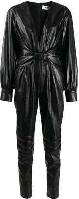 MSGM gathered plunge jumpsuit