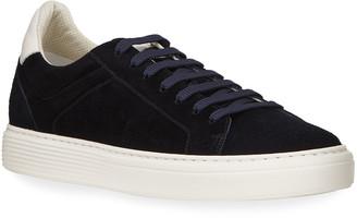 Brunello Cucinelli Men's Airsole Two-Tone Suede Sneakers