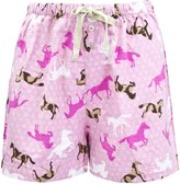 Leisureland Women's Cotton Flannel Pajama Sleepwear Lounge Boxer Shorts Horse Print