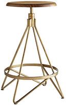 Arteriors Wyndham Counter Stool - Antiqued Brass base, antiqued brass; seat, brown