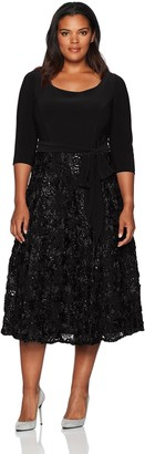 Alex Evenings Women's Plus Size Scoop Neck T-Length Party Dress with Rosette Skirt