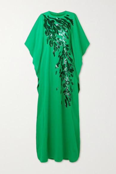 Thumbnail for your product : Reem Acra Draped Embellished Crepe De Chine Gown - Green