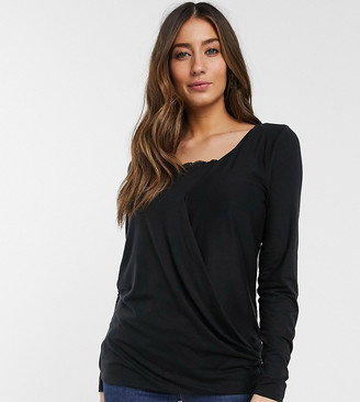 Mama Licious Mama.Licious Mamalicious nursing jersey top with lace detail in black