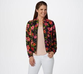 Susan Graver Printed Woven Zip-Front Bomber Jacket