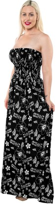 LA LEELA Backless Sundress Halter Boho Evening Party Swimsuit Maxi Skirt Beach Tube Dress Halloween Black