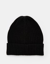 Selected Ribbed Beanie - Black