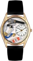 Whimsical Watches Women's C0610001 Classic Gold Doctor Black Leather And Goldtone Watch
