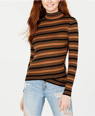 Say What Juniors' Striped Crossover-Hem Mock-Neck Sweater