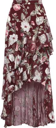 Alice + Olivia Walker Asymmetric Floral-print Fil Coupe Chiffon Skirt