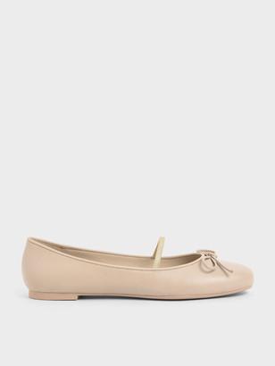 Charles & Keith Ribbon Tie Mary Jane Ballerina Flats