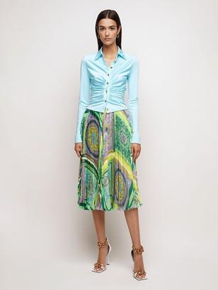 Versace Barrocco Mosaic Print Satin Midi Skirt