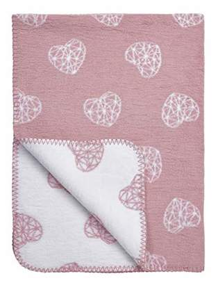"""Camilla And Marc Meyco 1531023 Baby Blanket""""Geometric Heart"""" 75 x 100 cm Pink"""