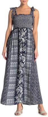 Angie Tie Strap Geometric Floral Print Maxi Dress