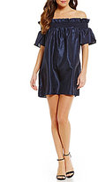 Keepsake Sweet Life Off-the-Shoulder Flare Sleeve Taffeta Mini Dress