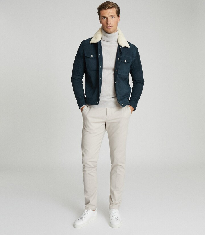 Reiss Miles - Suede Jacket With Shearling Collar in Teal