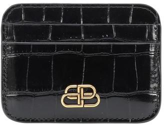 Balenciaga BB croc-effect leather card holder