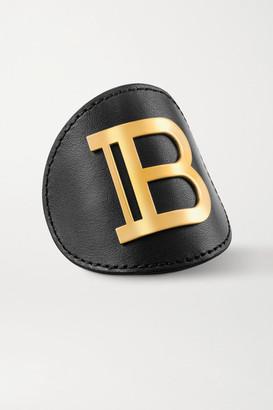 Balmain Paris Hair Couture Leather And Gold-plated Hair Clip - Black