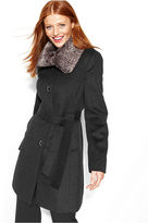 Calvin Klein Faux-Fur-Collar Belted Wool-Blend Coat