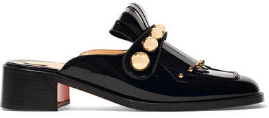 Christian Louboutin Octavian 35 Studded Fringed Patent-leather Mules - Black