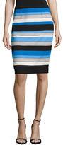 Kasper Suits Striped Scuba Crepe Pencil Skirt