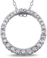 Julie Leah 1/3 CT TW Diamond Sterling Silver Circle Pendant Necklace