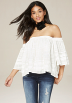 Bebe Layered Off Shoulder Top