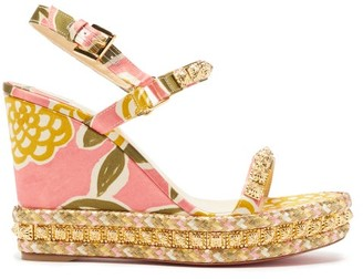 Christian Louboutin Pyraclou 110 Studded-satin Wedge Sandals - Multi