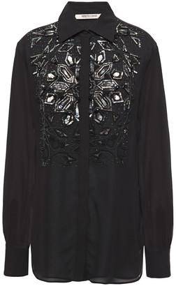 Roberto Cavalli Embellished Silk-georgette Shirt