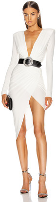 Alexandre Vauthier Plunging Asymmetric Midi Dress in Off White | FWRD