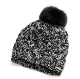 Braided Cable Hat With Black Fox Pom