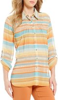 Multiples Long Roll-Tab Sleeve Stripe Print Button Front Shirt