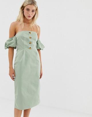 Glamorous bardot midi dress with buttons-Green